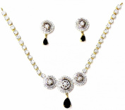 Shingar Jewellery Ksvk Jewels Women's Cubic Zirconia Silver And Gold Plated Black Pendant Set