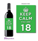 Keep Calm Green You Are 18 Happy 18th Birthday Wine bottle label Celebration Gift for Women and Men.