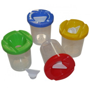 6 Paint Pots - 4 Bright Colours - With Stoppers - Water Tight - No Spill!