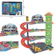 FunkyBuys® 4 Level Modern Car Park Multi Stack Skyline (SI-TY1014) Garage Set Kids Gas Station Play Set Toy