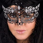 Carnival Toys 00727-adult mask, Metal with Rhinestones Black