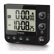 TW331 Dual Kitchen Timer with Clock & LED Alert - Black