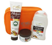 Argan Gift Set - Day face cream with Pure Argan Oil 50ml, Moisturising Shower Gel 250ml & Hand and Nail Cream with Argan Oil 100ml Free Cosmetic Bag and Bath Glove