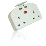 Twin/ Double UK Plug to Euro Travel Adapter with 2 USB Ports