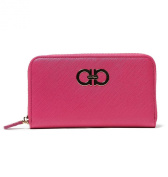 Salvatore Ferragamo Womens Gancini Zip Around Leather Wallet