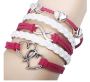 SheClub® Wax Rope Braided Pink Metal Heart Corss Love Style Infinity Multilayer Leather Bracelet Fashion Jewellery For Women Perfect Gift