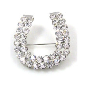 Brooches Store Double Row Diamante Horse Shoe Brooch