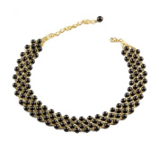 Vintage Style Black Bead And Gold Tone Chain Choker Necklace By Mytoptrendz