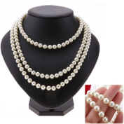 Ardisle Long 1.5M False Lovely 3Row Round 6-7Mm White Natural Pearl Necklace Jewlery