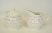 Vintage Style Milk Cream and Sugar Bowl in a Antique White Cream with Lilac Rose Flower Detail