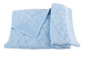 Boys Luxury 100% Cashmere Baby Blanket - 'Baby Blue' - hand made in Scotland by Love Cashmere - RRP £160