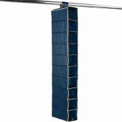 10 Pocket Hanging Clothes Wardrobe Organiser Soft Touch Marine Blue with Cream Trim
