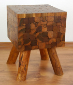 Teak Wood Stool, Beautifully Detailed Handcrafted Side Table / Stand from Java (Indonesia)