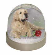 Golden Retriever with Red Rose Snow Dome Globe Waterball Gift