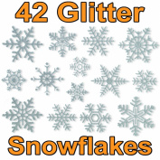 42 Glitter Snowflake Window Clings by Articlings® - Quick & Simple Christmas Decorations - Glueless PVC Stickers