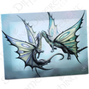 Fly Away With Me -Gothic Butterfly Winged Dragons - Fantastic Design by Artist Anne Stokes - Canvas Picture on Frame Wall Plaque / Wall Art