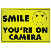 Maxam New Smile You'Re On Camera Yellow Business Security Sign Cctv Video Surveillance - One Sign