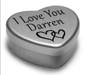 I Love You Darren Mini Heart Tin Gift For I Heart Darren With Chocolates. Silver Heart Tin. Fits Beautifully in the Palm of Your Hand. Great as a Birthday Present or Just as a Special Gift to Show Somebody How Much You Love Them.