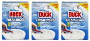 3 x Toilet Duck Fresh Discs Marine 6 Shot Toilet Gel Cleaner & Applicator