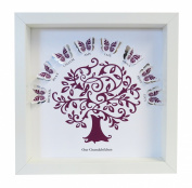 Personalised Our Grandchildren Butterfly Family Tree Paper Cut Box Frame