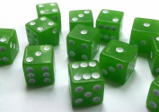 10 GREEN CASINO STYLE DICE / CRAPS - LARGE 19MM NEW
