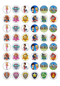 48 Paw Patrol Characters Edible Wafer Paper Cake Toppers