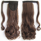 Beauty Wig World 22inch 55cm 90g Long Body Wave Clip In Pony Tail Hair Extension Wrap Around Ponytail Hair Piece - #8 medium brown