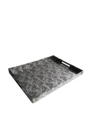 Accents by Jay Rectangle Tray, Silver and Black