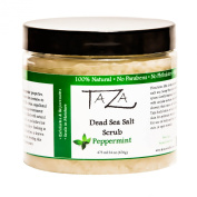 Premium Taza Peppermint Dead Sea Salt Scrub, 473 ml 24 oz (670g) ♦ Exfoliates Your Skin Leaving it Soft and Hydrated ♦ Contains
