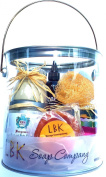 Mind and Body Purification Stress Relief Spa Gift Basket by LBK Soap Company 240ml Bergamot Orange Citrus Hand and Body Lotion,60ml Spa Facial Clay with Sea Kelp,120ml Almond Oil,10pc Handmade Artisan Soaps Assorted Fragrances Plumeria,Lavender,Jasmine ..
