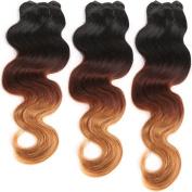 MY-LADY 3 Bundles 300g 14-60cm Unprocessed Body Wave 100% Brazilian Virgin Human Hair Extensions Full Head Ombre 16+18+50cm