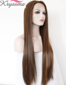 K'ryssma Hand Tied Cheap Wigs Synthetic for Black Women Straight Long Wigs Heat Resistant Fibre Hair Golden Blonde 60cm