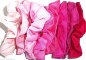 Pink Fuchsia Fabric Ponytail Holders Set of 8 Ties Handmade by Scrunchies by Sherry