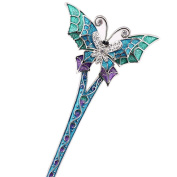 LiveZone Fashion Hair Decor Chinese Traditional Style Women Girls Hair Stick Hairpin Hair Making Accessory with Butterfly,Blue