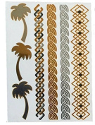 Gold and Silver Jewellery Palm Trees Scales Geometric Bracelets Fall Season Tribal Flash Temporary Tattoos by Joshanni