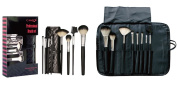 Professional Makeup Brush Set - 8pc Cameo Cosmetics Makeup Brushes and Tools Set Made with Goat Bristles and Pony Bristles, Including a Black Travel Roll, Perfect As a Brushes and Applicators Gift Set