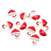 So Beauty 10pcs Alloy 3D Cute Umbrella Nail Art Tips Slice DIY Decoration Red and Silver