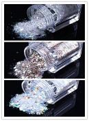 ECBASKET 1 Set 3 jars Silvery White/Snow white/Coffee Glitter Nail Powder Dust DIY Nail Glitter Slices Decorations