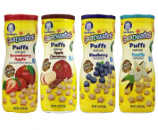 Gerber Graduates Puffs Bundle of 4 - Strawberry Apple, Apple Cinnamon, Blueberry, and Vanilla