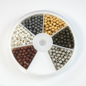 Silver Stardust covered Brass 4mm Beads Mixed Colours- one case