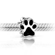 Black Enamel Puppy Dog Paw Print Heart 925 Sterling Silver Charm Bead Fits Pandora Style Bracelets
