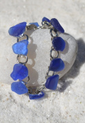 Genuine Blue Sea Glass Charm Bracelet