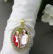 Bridal Wedding Bouquet Photo Charm Gold Oval Rhinestone Frame