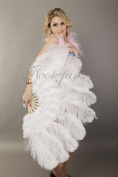 Hot-fans Marabou and Ostrich Feather Fan 60cm x 110cm ,White