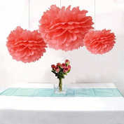 Krismile® Pack of 12PCS Coral Party Tissue Pom Poms Wedding Flowers Birthday Anniversary Paper Hanging Decoration