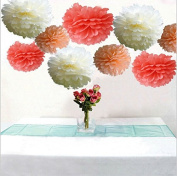 Krismile® Pack of 18pcs Mixed 3 Sizes White Pink & Hot Pink Tissue Paper Pom Poms Flower Wedding Birthday Party Baby Girl Room Nursery Decoration