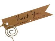 Summer-Ray.com 50 Personalised Mini Kraft Wedding Favour Gift Tags Pennant Flag