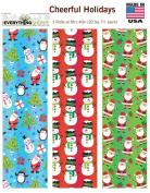 Premium Christmas Gift Wrap Cheerful Holidays HEAVEY WEIGHT THICK Wrapping Paper for Men, Women, Boys, Girls, 3 Different 1.8m X 100cm Rolls Included Xmas Trees, Santa, Snowman, Penguins