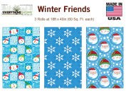 Premium Christmas Gift Wrap Winter Friends Wrapping Paper for Men, Women, Boys, Girls, 3 Different 5.5m X 100cm Rolls Included Snowflake , Snowman, Santa