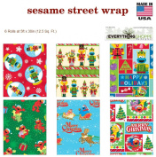 Premium Christmas Gift Wrap Juvenile Wrapping Paper Bulk for Boys, Girls, Kids. Includes 6 Different 1.5m X 80cm Rolls of Xmas Sesame Street